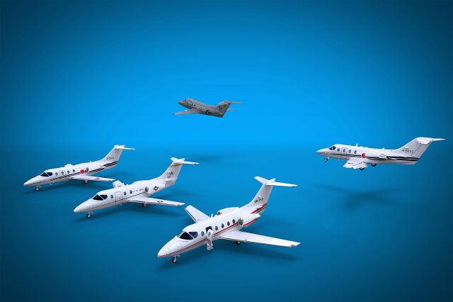 Three Hawker 400 versions, rendered with Keyshot. A model for 3D printing